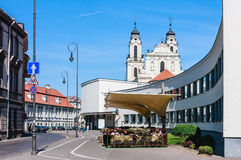 Vilnius. Church of St. Catherine and the gymnasium named Salome Neris Stock Images