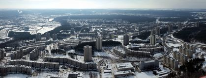 The Vilnius city aerial view. Winter in the city. View like from the bird eye Royalty Free Stock Photos
