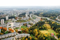 Vilnius city aerial view - Lithuanian capital Royalty Free Stock Photography