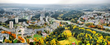 Vilnius city aerial view - Lithuanian capital Stock Photos