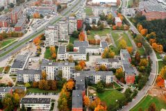 Vilnius city aerial view - Lithuanian capital bird eye view Stock Image