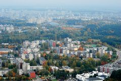 Vilnius city aerial view - Lithuanian capital bird eye view Stock Photo