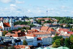Vilnius city aerial view from Vilnius University tower Stock Photo