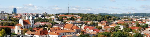 Vilnius city aerial view from Vilnius University tower Stock Photography
