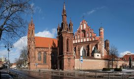 Vilnius city Anna church Royalty Free Stock Images
