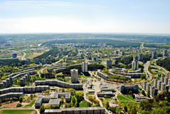 Vilnius city capital of Lithuania aerial view. From Karoliniskes at spring 2014 Stock Image