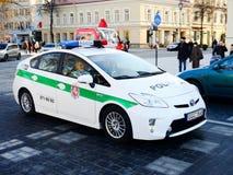 Vilnius city capital of Lithuania police car Stock Photos