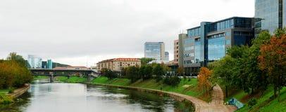 Vilnius city center river Neris and Zverynas bridge Royalty Free Stock Images