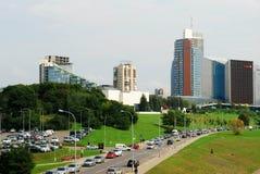 Vilnius city center shot from bridge over Neris river Stock Photography
