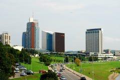 Vilnius city center shot from bridge over Neris river Royalty Free Stock Photography