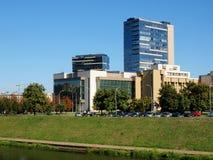 Vilnius city center shot from Neris river board Stock Photos