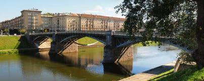 Vilnius city center vith bridge view Royalty Free Stock Images