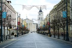 Vilnius city Gediminas street on morning time Royalty Free Stock Photo