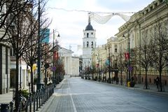 Vilnius city Gediminas street on morning time Stock Image