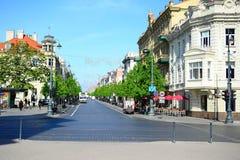 Vilnius city Gediminas street on morning time Stock Images