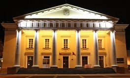 Vilnius city hall at night (Lithuania). The city hall of Vilnius, the capital of Lithuania at night Royalty Free Stock Photos