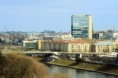 Vilnius city houses in centre on March 13, 2015 Royalty Free Stock Photo