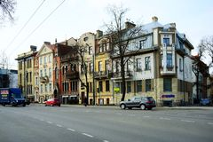 Vilnius city houses in centre on March 13, 2015 Stock Photography