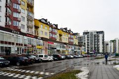 Vilnius city houses in Zirmunai district Nord city Royalty Free Stock Image
