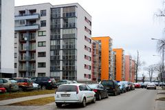 Vilnius city houses in Zirmunai district Nord city Royalty Free Stock Photos