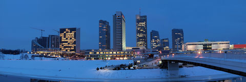 The Vilnius city lights. Late evening in the winter time. Lights of the city Stock Photo
