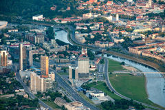 Vilnius city, Lithuania. A photo of Vilnius  taken from the air baloon in summer Royalty Free Stock Photo