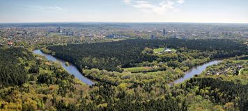 Vilnius city and nature with forests and river Royalty Free Stock Image