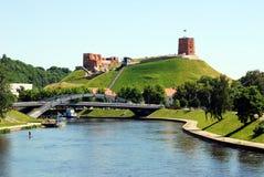 Vilnius city Neris river and Gediminas castle view Stock Photography