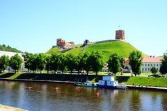 Vilnius city Neris river and Gediminas castle view Stock Photos