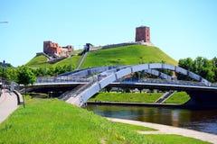 Vilnius city Neris river and Gediminas castle view Royalty Free Stock Image