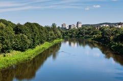 Vilnius City and Neris River Stock Image