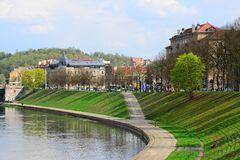 Vilnius city Neris river on spring time Stock Photos
