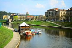 Vilnius city Neris river on spring time Stock Images