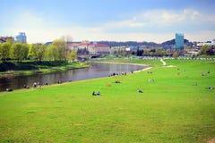 Vilnius city Neris river on spring time Royalty Free Stock Photo