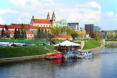 Vilnius city Neris river on spring time Royalty Free Stock Photography
