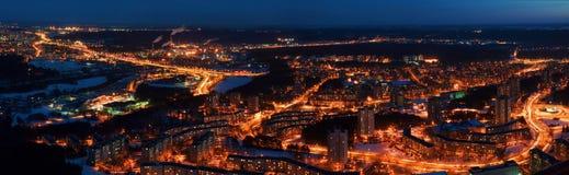 Vilnius city night aerial view Stock Images