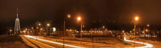 Vilnius city night aerial view Royalty Free Stock Image