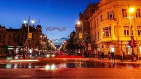 Vilnius city at night, timelapse stock video footage