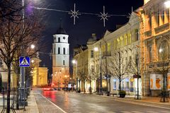 Vilnius City Night Winter Panorama in Ligts Royalty Free Stock Photography
