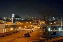 Vilnius City Night Winter Panorama in Ligts Royalty Free Stock Photo