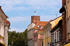Vilnius City Old Town and Gediminas Castle Tower Stock Photo