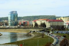 Vilnius city panorama with Barclays bank and Educology University Stock Photos