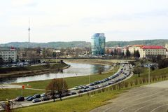 Vilnius city panorama with Barclays bank and Educology University Royalty Free Stock Photo