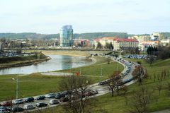 Vilnius city panorama with Barclays bank and Educology University Royalty Free Stock Photos