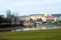 Vilnius city panorama with Barclays bank and Educology University Stock Image