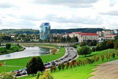 Vilnius city panorama with river Neris on September 24, 2014 Stock Photography