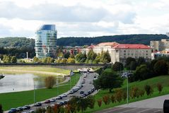 Vilnius city panorama with river Neris on September 24, 2014 Stock Images