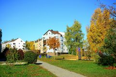 Vilnius city Pasilaiciai district at autumn time Stock Photo