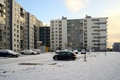 Vilnius city Pasilaiciai district new house and cars Stock Image