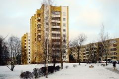 Vilnius city Pasilaiciai district new house and cars Royalty Free Stock Photography